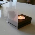Teelicht, Holz u. Acryl 12-