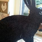 schwarzes Rießenkaninchen, Glimmer 80x80cm 160,-