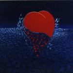 Herz in Efeu blau